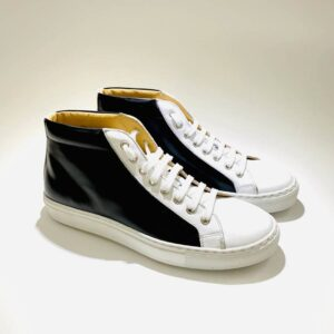 Sneakers alta uomo pelle nera fondo cuoio artigianale