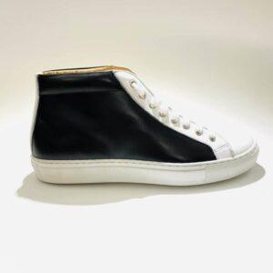 Sneakers alta uomo pelle nera fondo gomma artigianale