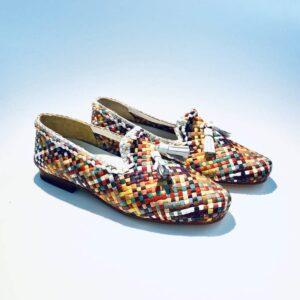 Mocassino donna pelle estivo mezza stagione fondo cuoio multi color intrecciato artigianale made in italy