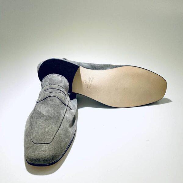 Mocassino uomo estivo sfoderato camoscio grigio made in italy