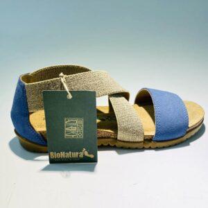 Sandalo bionatura donna elastico memory foam color jeans fondo gomma made in italy