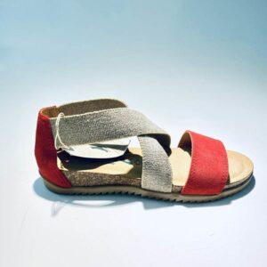 Sandalo bionatura donna elastico memory foam rosso fondo gomma made in italy
