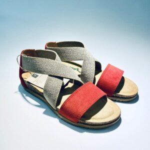 Sandalo bionatura donna elastico memory foam rosso made in italy