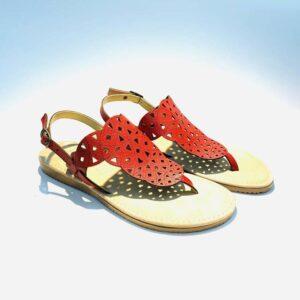 Sandalo donna infradito rosso pelle fondo gomma basso artigianale