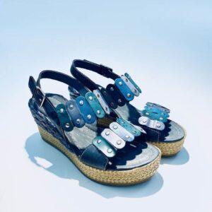 Sandalo donna zeppa pelle fondo gomma colorata blù artigianale made in italy samoa