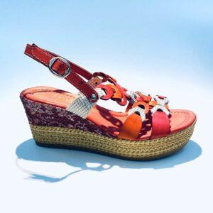Sandalo donna zeppa pelle fondo gomma colorata corallo artigianale made in italy samoa