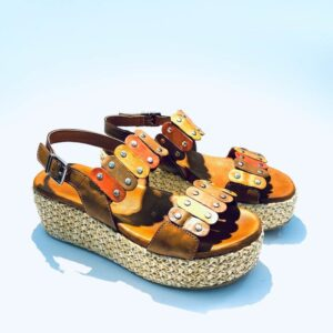 Sandalo donna zeppa platform pelle fondo gomma colorata colori terra artigianale made in italy samoa