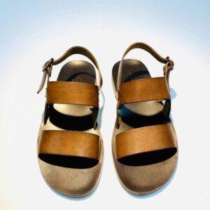 Sandalo uomo fratino pelle cuoio marrone artigianale