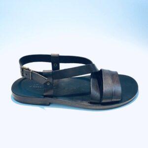 Sandalo uomo fratino pelle cuoio nero artigianale