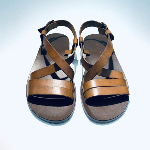 Sandalo uomo pelle cuoio marrone artigianale