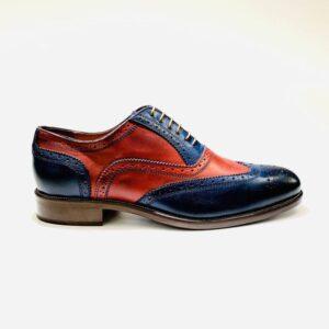 Francesina pelle uomo rosso blu tuscany artigianale fondo cuoio