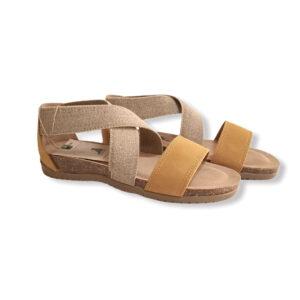 Sandalo donna bionaura elastico fondo gomma comodo ocra
