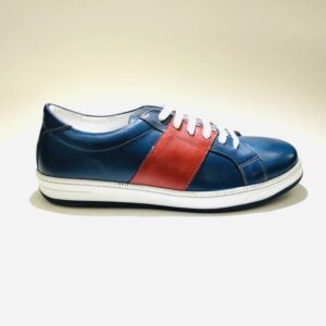 Sneakers bassa uomo pelle fondo gomma blù made in italy