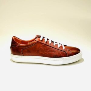Sneakers basse pelle rosse uomo fondo gomma artigianali