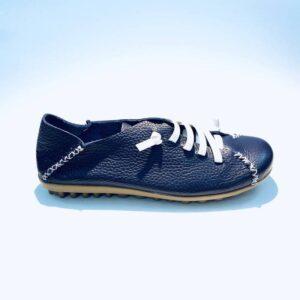 Sneakers donna estiva pelle fondo gomma sabot blù artigianale