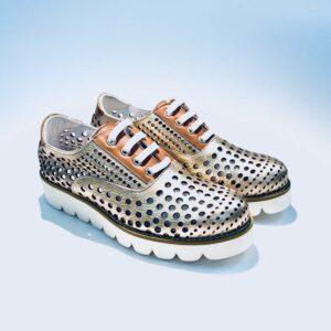 Sneakers donna forata estiva pelle fondo gomma light rame artigianale made in italy .jpg