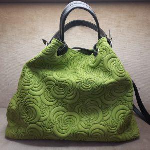 Borsa donna verde pelle artigianale tracolla