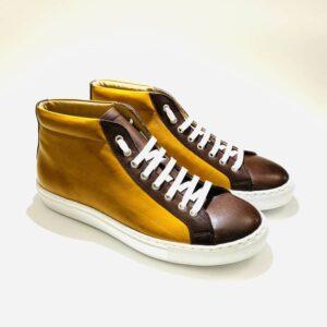 Sneakers alta uomo pelle fondo gomma ocra marrone artigianale