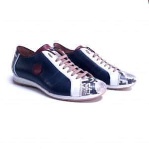 Sneakers bassa uomo pelle blù artigianale made in italy