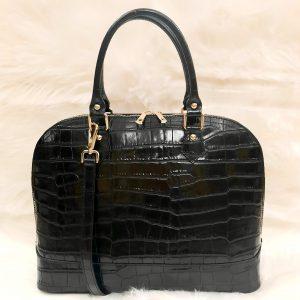 Borsa in pelle nera cocco lavorazione artigianale made in italy