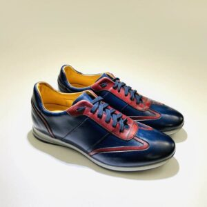 Sneakers bassa uomo pelle blù rossa fondo gomma made in italy
