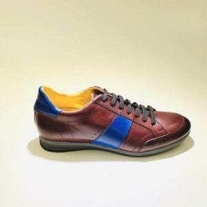 Sneakers bassa uomo pelle bordeaux blù fondo gomma made in italy