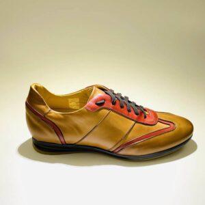 Sneakers bassa uomo pelle color cuoio fondo gomma made in italy