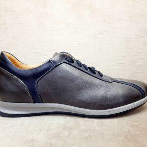 Sneakers uomo pelle artigianale grigia